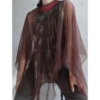 70S USA HAND PAINTING SHEER PONCHO