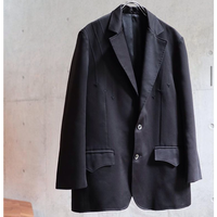 80S BLACK POLYESTER WESTERN TAILORED JACKET