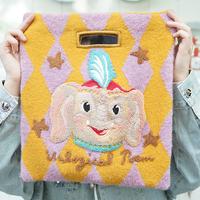 Elephant Rhombic Woolen Embroidery Knitting Bag