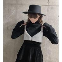 long-sleeve pleats tops -black-【St002-BLK】