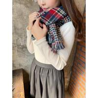 navy check scarf  [Vi109]