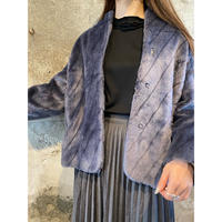 blue gray far coat [Vo069]