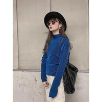 long-sleeve pleats tops -blue-【St002-BLU】