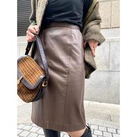 brown leather skirt  [Vs046]