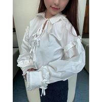 balloon sleeve white blouse