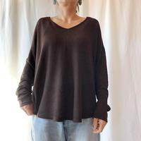 ZURI・Vネック薄ニット編みロングTシャツ(9W42049F)