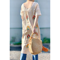WHOO-AA・Square Neck Embroidery Dress(W9S3034)