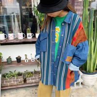 WHOO-AA・ Different Material Mixed Jeans Jacket(W0W6025)