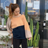 MANIC MONDAY・2way Color Block Knit Top(0W62012o)