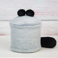 ペット用骨壺カバー / サイズ:4寸 / ベース:グレー / ボンボン:黒・黒 / しっぽ:黒(S154)