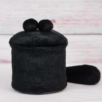 ペット用骨壺カバー / サイズ:4寸 / ベース:黒 / ボンボン:黒・黒 / しっぽ:黒(S192)