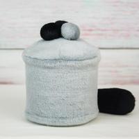 ペット用骨壺カバー / サイズ:4寸 / ベース:グレー / ボンボン:グレー・黒・黒 / しっぽ:黒(S151)