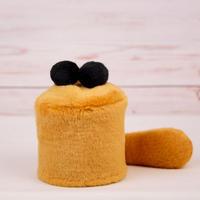 ペット用骨壺カバー / サイズ:3寸 / ベース:ブラウン / ボンボン:黒・黒 / しっぽ:ブラウン(S049)