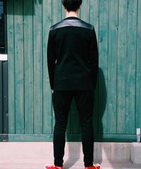 No Collar Jacket (BLACK×LEATHER  GOLD刺繍)