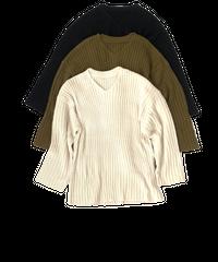 Vneck Rib Knit〈20-550233〉