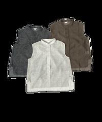 Stand Collar No sleeve Shirt〈21-770075〉