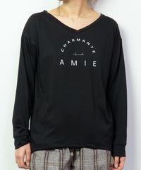 67410176 _ シンプルアーチロゴVネックロングTシャツ