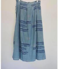 カディKOHANプリント二重スカート 藍