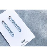 Straight Line Clear Earrings (pearl dot)