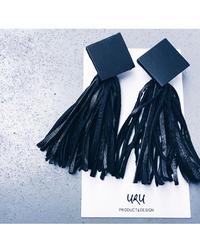 Leather Tassel Charm Earrings ◇