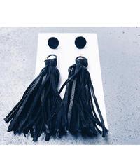 Leather Tassel Charm Earrings ○