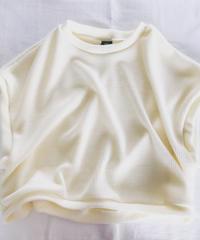 ウール混リブ編み ショート オフホワイト