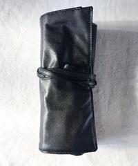 サニーレザー 巻き型道具入れ ブラック (7ポケット)