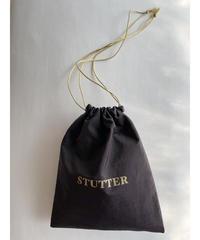 STUTTERナイロン巾着 ダークブラウン×ゴールド