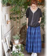 ◇ ichi ◇  リネンチェックインディゴスカート