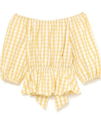 waist ribbon gingham check blouse (S19-01124K)