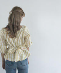 waist ribbon gingham check blouse (S19-01124K)