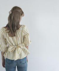 waist ribbon gingham check blouse (S19-01124K)-BEG.CHK/F
