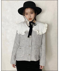 【Autumn 38】big collar tweed jacket (A20-01217K)