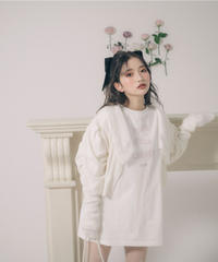 lace collar puff sleeve short cardigan