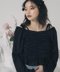 shoulder ribbon shirring blouse