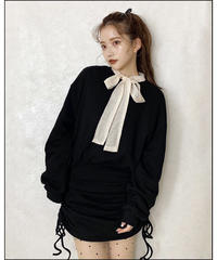 【Autumn 30】shirring sweat mini one-piece (A20-04085K)