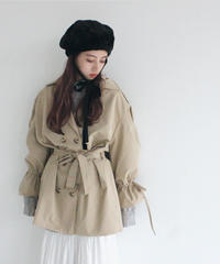 ribbon cuff short trench coat (A19-06030K)