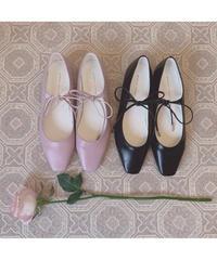 ribbon square toe flat shoes (S20-07026K)
