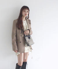 l shaped lapel double button jacket(A19-06032K)