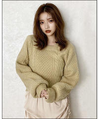 【Autumn 27】square neck cable knit (A20-01213K)