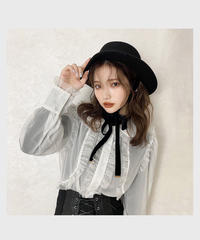 sheer frill blouse -white-