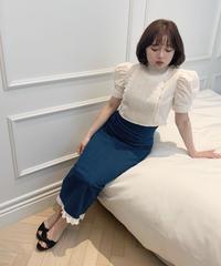 frill denim long skirt (indigo)