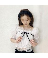 【Summer 20】front velor ribbon  blouse (S20-01200K)