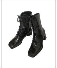 lace up enamel short boots (A20-07033K)