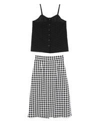 lace cami & gingham check skirt (S19-05021K)