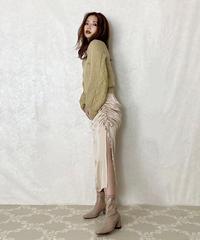 【Autumn 25】side shirring satin skirt (A20-03063K)