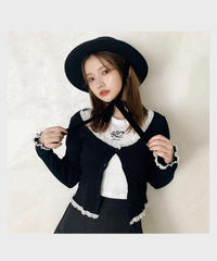 【last 1】frill lace cardigan -black-