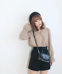 frill cross lace cotton blouse(A19-01156K)
