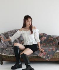lace shoulder cut blouse (S19-01114K)