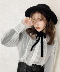 sheer frill blouse -white-